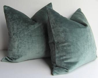 Smokey Blue Throw Pillows : Set of Two Decorative Pillows 20 inch designer by studiotullia
