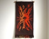 Vintage Wool Wall Hanging - Mid Century Modern Wool Double Weave Tapestry - Autumn Colors Sunburst
