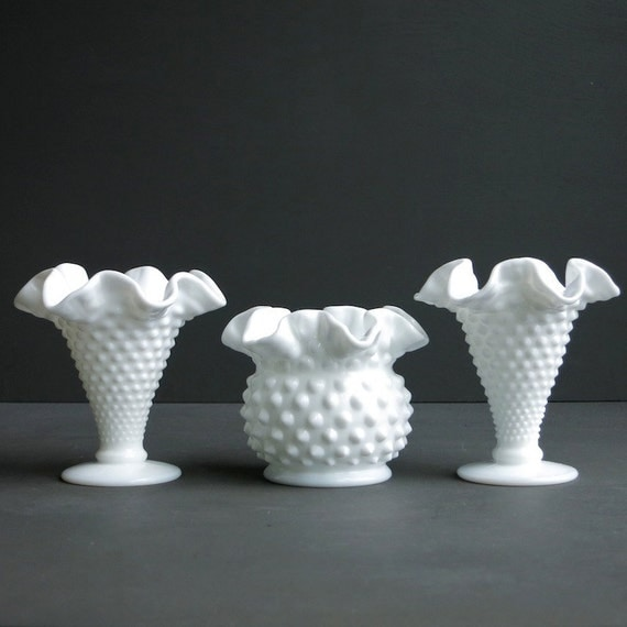 Three Fenton Milk Glass Mini Vases - Instant Collection - Hobnail Milk Glass Vases