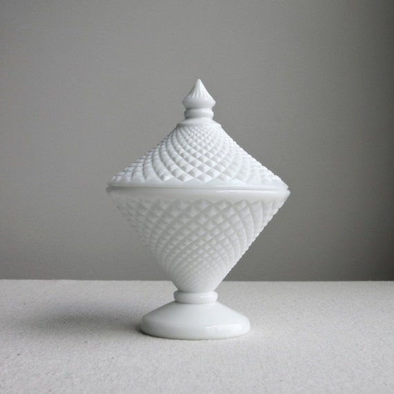 Westmoreland Milk Glass Covered Candy Dish - English Hobnail Geometric Diamond Pattern