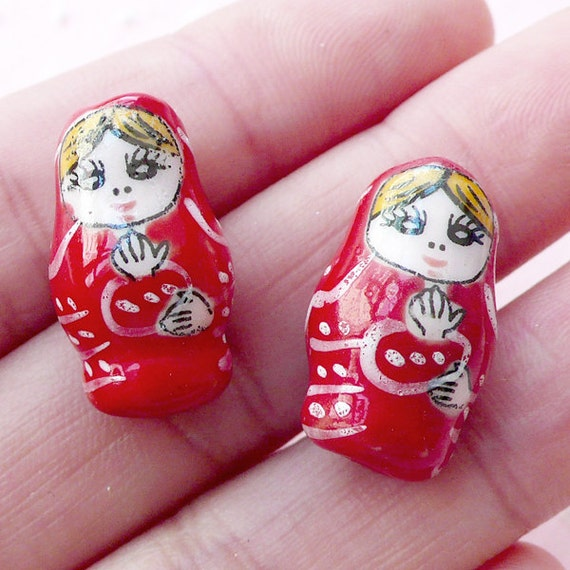 matryoshka ceramic bead babushka pottery bead by