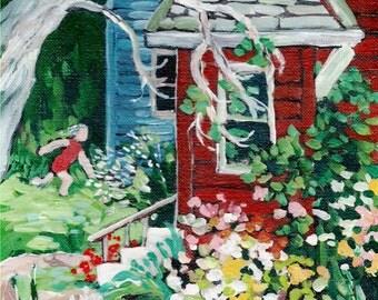 "Acrylic Painting ORIGINAL  - ""Red House""-Garden,flowers,houses,running child,summertime"
