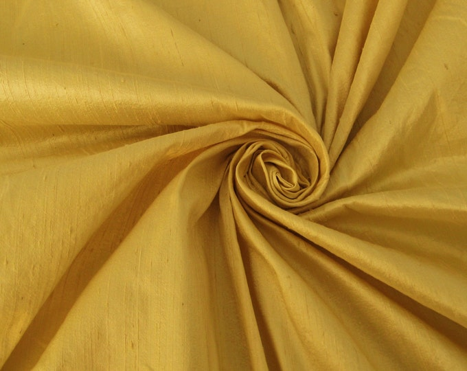 "Champagne Gold 100% dupioni silk fabric yardage By the yard 45"" wide"