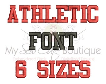 Athletic Embroidery Font - Machine Embroidery Designs - 6 Sizes Included - BX Embroidery Fonts Included