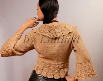 Beige Bolero Crochet Shrug, Knit Shrug, Crochet Bolero, Knit Bolero Jacket, Sweater Shrug, Wedding Bridal Shrug Lace Bolero, Cape   / S-M-L