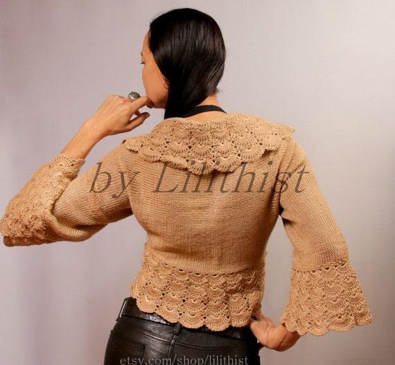 crochet shrug knit bolero jacket beige bronze wedding lace. Black Bedroom Furniture Sets. Home Design Ideas
