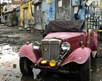 Colorful Urban Print, NYC Photography, Vintage MG Roadster Car office art, For Him, Car Lovers Gift