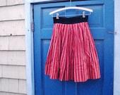German Red Cotton Print Dirndl Skirt - Full - Small - Christmas Tree Skirt