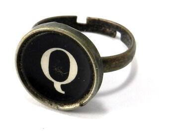 Vintage Typewriter Key Ring - Letter Q Ring Name Ring - Custom Initial Ring - Brass Adjustable Ring