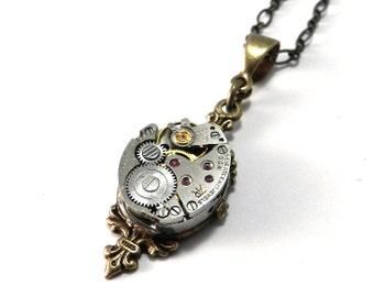 Steampunk Necklace - Petite Vintage Watch Movement Pendant Brass - 17 Ruby Jewels on Brass Victorian Art Nouveau Pendant - Steampunk Jewelry