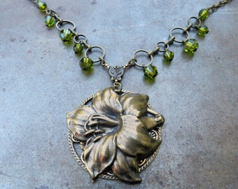 Steampunk Necklace Ornate Special Occasion Bridal Lily Blossom Olive Green Swarovski Crystal Necklace