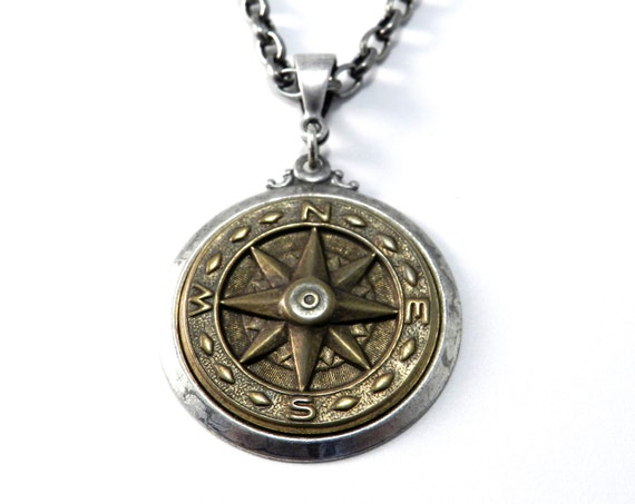 Compass Necklace - Steampunk Pendant - Compass Rose Nautical Design - Antiqued Brass on Silver