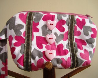 Wrist Purse Hearts 80s Flannel Zipper Wristlet Pink White Grey Eighties Bag Valentine's Day - Size Small