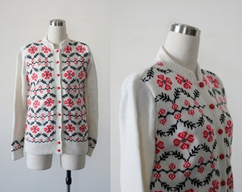 1960's Vintage Cardigan Sweater, White Knit with Red and Black Pattern