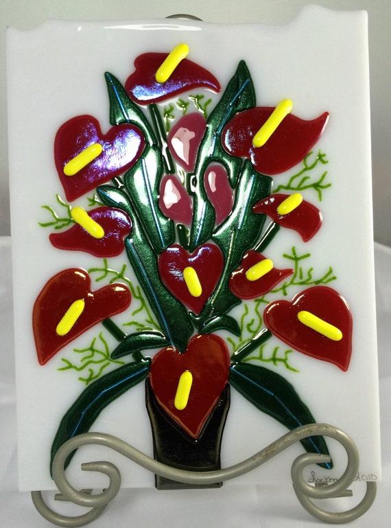 Red Iridized Anthurium Tropical Floral Arrangement Flower Decorative Plate/Tile