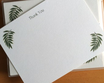 Palm Leaf Flat Note Thank You Note Card Set Garden Theme Tropical Thinking of You Business Notes