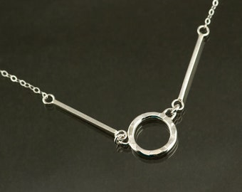 """Lightweight Sterling Silver Circle necklace with 2 sterling silver bars, 18"""" sterling silver chain"""