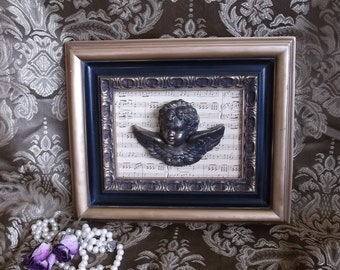 Baroque Cherub assemblage, repurposed, music, black and Gold, Wall hanging