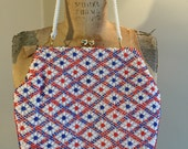 Vintage Red White and Blue Beaded Bag