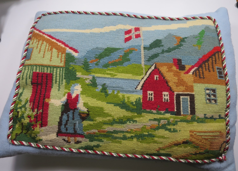 Needlepoint Pillow Swedish Farmhouse Woman Figure Flag Blue