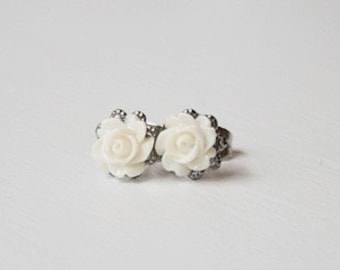Handmade Ivory Earrings Ivory Rose Earrings Ivory Flower Post Ivory Rose Post Earrings Ivory Bridesmaid Jewelry Ivory Wedding Jewelry