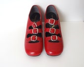 1960s MOD Red Leather Triple Buckle Mary Jane Heels Size 7 Narrow