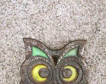 Owl Trivet Mid Century Mod Modern Yellow Green Bird