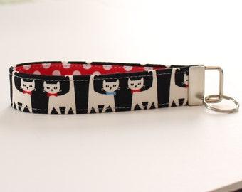 Cat Keychain, Black and White Cat Key Fob, Wristlet Strap in Black and White Cats, Key Strap - PREORDER