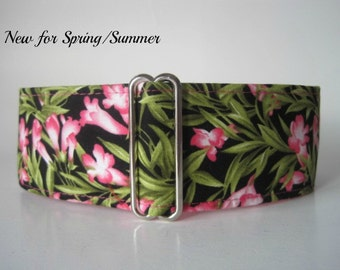 Pink Martingale Dog Collar, Floral Martingale Collar, Pink Dog Collar, Floral Dog Collar, Wide Dog Collar, Made in Canada, Sighthound Collar