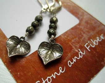 Sterling Silver Leaf & Pyrite Earrings / Leaf Drop Earring / Faceted Pyrite Earring / Fool's Gold Earrings / Vintage Look Leaf Earrings