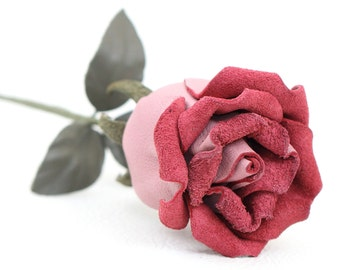 Mauve leather rose bud third Anniversary wedding gift Long Stem leather flower Valentine's Day 3rd Leather Anniversary Mother's Day