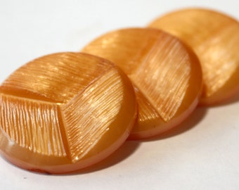 3 Medium Sized Tangerine Coloured Buttons in Wonderful Vintage Condition!