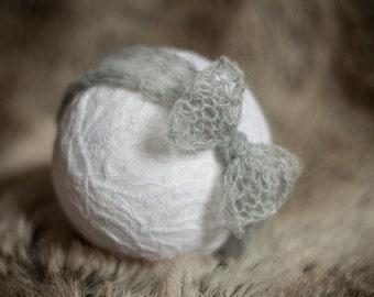 Simply knitted newborn head wrap - Grey