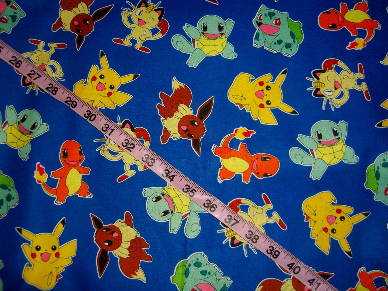 Pokemom fabric kids children cotton quilt print quilting for Kids print fabric