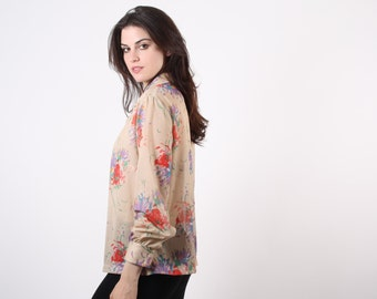 D - 70s Floral Blouse - Vintage 1970s Tops  - The Always Wildflowers Blouse - 7054