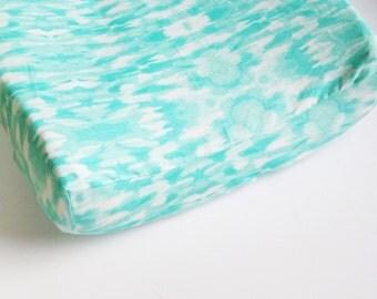 Mint Nursery Bedding - Watercolor Contoured Pad Cover / Aqua Mint Changing Pad Cover / Watercolor Baby Bedding