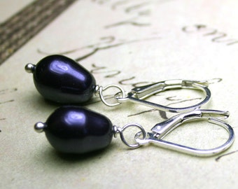 Dark Purple Pearl Earrings - Swarovski Crystal Teardrop Pearl Earrings - Violet Pearls with Sterling Silver Leverbacks- Free US Shipping