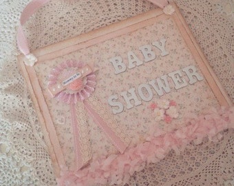 Baby Shower Sign ~ Vintage inspired pretty pinks.