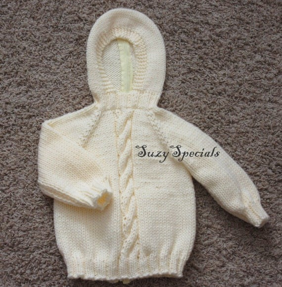 Zip Up Back Hooded Baby Sweater Pattern 44