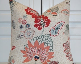 DURALEE - Tilton and Fenwick's collection  - Decorative Pillow Cover - Red - Coral - Navy - Cushion