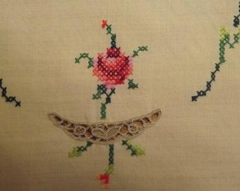 Dresser Scarf With Vintage Hand Cross Stitched  Rose Design
