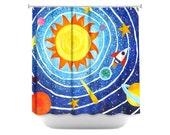 Kids Shower Curtain, Blue Solar System, Space Themed Bathroom Decor
