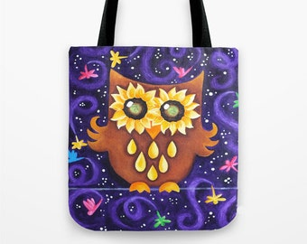 Owl Tote Bag, Sunflower Eyed Owl with Dragonflies on Purple