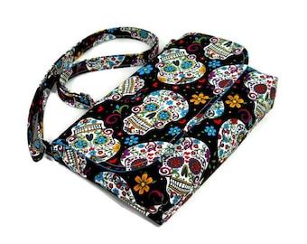 Mini Crossbody Bag, Small Skulls Purse, Black Mini Messenger Bag for Women, Skulls on Black Pocketbook, Adjustable Strap Cross Body Purse