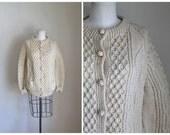 50% OFF...last call // vintage wool cream cardigan - CAPE COD fisherman sweater / l