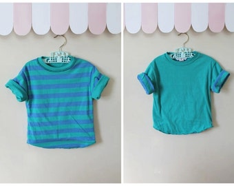 vintage child's striped tee - MARINE STRIPES reversible knit top / 6-7yr