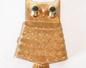 Vintage Avon Owl Brooch With Hidden Perfume Pod