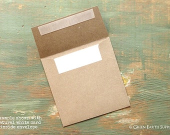 "100 Mini Square FLAT 3"" or 3 3/4"" Cards with 3 1/4"" or 4"" Kraft Brown Envelope (Choose your card color, envelope comes standard Kraft Brown)"
