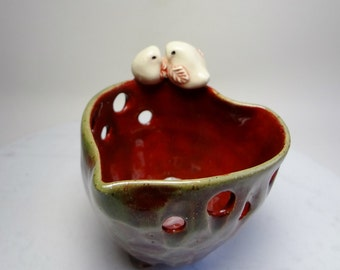Love Bird Jewelry Holder - Trinket Bowl - Tealight  Holder - Candle Holder - Wheel Thrown Pottery - Carved Pottery - Red & Green -Love Bird