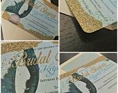 Mermaid Bridal Shower Invitation -- Mermaid Invitation -- Glitter Invitation